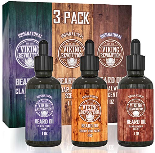 Beard Oil Conditioner 3 Pack - All Natural Variety Set - Sandalwood, Pine & Cedar, Clary Sage Conditioning and Moisturizing for a Healthy Beards, Great Item by Viking Revolution