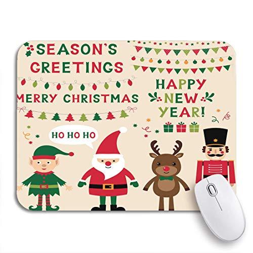 MIGAGA Gaming-Mauspad,Weihnachtsfiguren Santa Elf Rentier Nussknacker und Schriftzug Text,Rutschfest Verschleißfestes Und Haltbares Gummi,Mousepad Für Bürocomputer,9.5