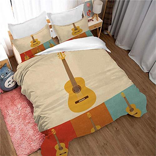 Funda Nórdica Impresa en 3D Guitarra Musical,Funda de Edredón 3 Piezas Incluye 1 Funda Nórdica y 2 Funda de Almohada,Microfibra Hipoalergénica Juego de Ropa de Cama 140X200Cm