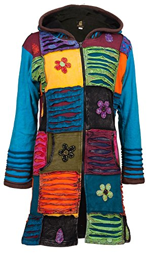 Michael Heinen Patchwork-Mantel | Hippie-Mantel | Model Long Coat | Innenfutter aus Fleece | Damen | Goa-Jacket | Cutwork | Kapuzen-Sweatmantel | Individuell | Handarbeit aus Nepal