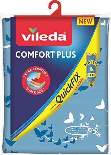 Vileda Comfort Plus Bügelbrettbezug, blau, 3 Lagen, Quick-Fix-System, 30–45 cm x 110–130 cm