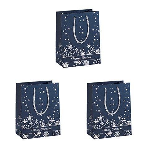 SIGEL GT111 kleine Premium Papier-Geschenktüten 17,5 x 23 cm, 3er Set, mit Silberprägung, für Weihnachten - weitere Größen