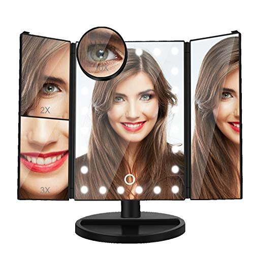 Dash Lighted Makeup Mirror with 10X/3X/2X/1X Magnification, Tri-Fold Vanity Mirror with 22 LED Lights, 180° Free Rotation & Touch Seneor Control, Countertop Bathroom Cosmetic Mirror Black
