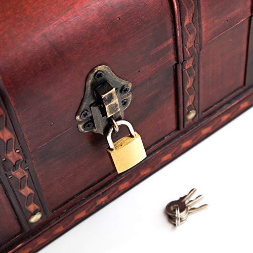 Schatztruhe Caribe – Kiste mit Schloss und Schlüssel – Holztruhe, Schatzkiste 28x19x15cm groß – Ideal als Geschenkebox für z.B. Hochzeit und Geburtstag - 3