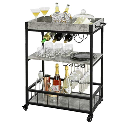 Haotian Bar Serving Cart Home Myra Rustic Mobile Kitchen Serving cart,Industrial Vintage Style Wood Metal Serving Trolley (Grey)