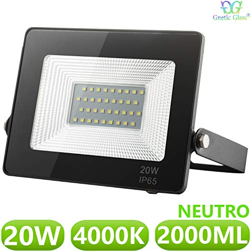Foco LED exterior Floodlight 20W GNETIC GLASS Proyector Negro Impermeable IP65 2000LM Color Luz Blanco Neutro 4000K Angulo 120º 120x165 mm 30000h Equivalente a 190W [Eficiencia energética A++] Pack x1