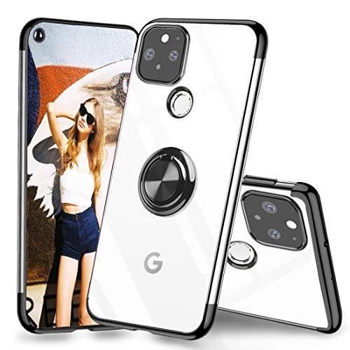 best thin cases for google pixel 4a 5g 2021 Google Pixel 4A 5G Case Clear Slim Fit with Ring Stand Holder Kickstand Soft Flexible TPU Silicone CoverElectroplated Edge Shockproof Crystal Clear Case for Pixel 4A 5G Black (2020,6.2inch)