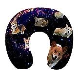 Almohada de Viaje de Espuma viscoelástica Suave, Almohada para el Cuello en Forma de U con Funda Lavable Que soporta el Dolor en el Cuello y Libera el Dolor, Galaxy Space Cute Corgi Running