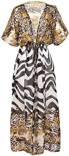 India rose Stunning Sheer Kimono Robe for Women, Animal Print Beach Cover up or Bathrobe. Animal Print Robe. One Size Fits UK 10-18 (Animal Print)