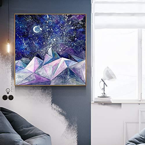 xinyouzhihi Abstrakte Landschaft Aquarell abstrakte Wandbild auf Leinwand gedruckt, verwendet für Wohnzimmer Schlafzimmer Wanddekoration 30x30cm Kein Rahmen