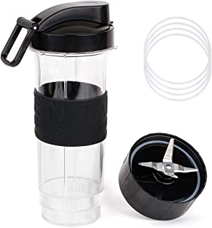 20 OZ Sport Cup with Flip Top To Go Lid for Magic Bullet, UHAPEER 6Pcs/Set Replacement Parts Compatible with 250W Magic Bullet Blender, Include 20 Ounce Mug Cup, Cross Blade and 4Pcs Gasket O Rings