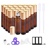 Roller bottles for oils (Amber Glass, 24 pack, 4 Extra Stainless Steel Balls, 48 Labels, Openers, 2 Funnels, 2 Droppers by PrettyCare) Roller Balls For Essential Oil Roller Bottles
