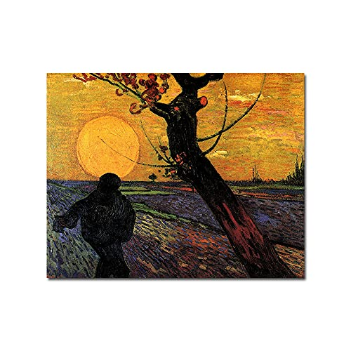 GYJDD The Sewer Sunset Tree Dipinti Ad Olio su Tela Pittore Famoso Poster E Stampe Tela Colorata Wall Art Picturesiving Home Home Decorazioni 40x50cm Senza Cornice