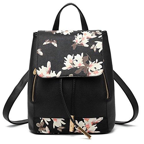 Womens Backpack Purse Leather Girls Schoolbag Tote Laptop Bag Travel Bag (Black flower)