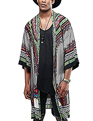 COOFANDY Mens African Dashiki Printed Ruffle Shawl Collar Cardigan Lightweight Long Length Drape Cape (Large, Grey) from