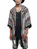 COOFANDY Mens African Dashiki Printed Ruffle Shawl Collar Cardigan Lightweight Long Length Drape Cape (Small, Grey)