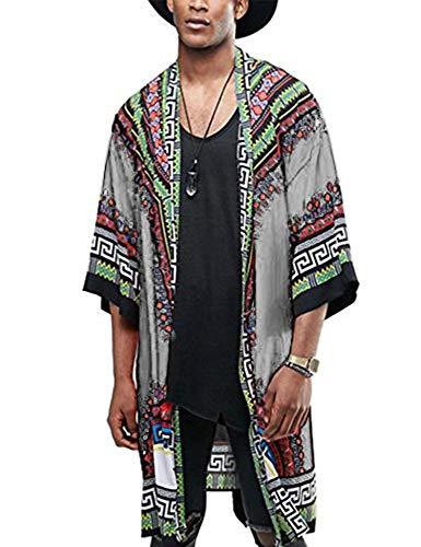 COOFANDY Mens African Dashiki Printed Ruffle Shawl Collar Cardigan Lightweight Long Length Drape Cape (Large, Grey)