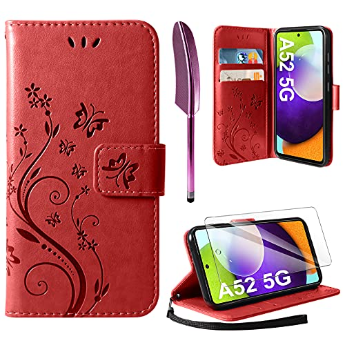 AROYI Cover Compatibile con Samsung Galaxy A52 5G, Retro Design Flip Caso in PU Pelle Premium Portafoglio Slot per Schede Chiusura Magnetica Custodia Compatibile con Samsung Galaxy A52 5G Red