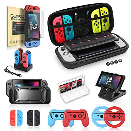 Nintendo Switch Zubehör Set, 19 in 1 Essential Kit, kompatibel für Switch-Spiele, einschließlich Joy-Con-Lenkrad, Steuerungsgriff, Displayschutzfolie, Ladestation, Tragetasche und PlayStand