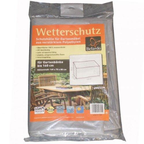 Belardo Schutzhülle für Gartenbänke bis 160 cm Schutzhaube Hülle Haube Gartenbank grau