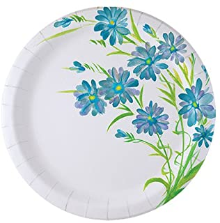 Nicole Home Collection 48 Count Everyday Paper Plate, 7-Inch, Blue Floral