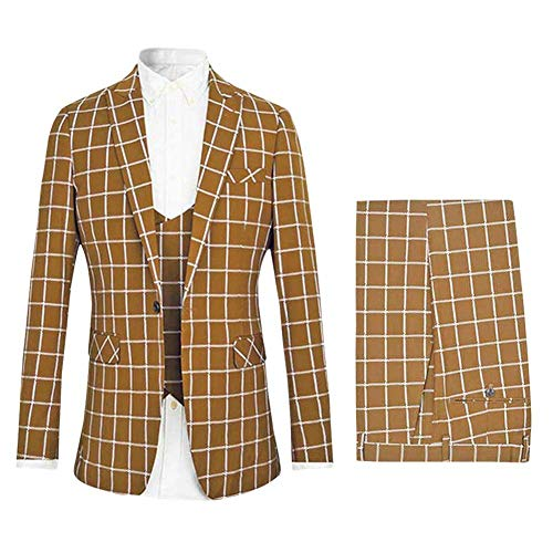 Frank Men's 3 Piece Slim fit Checked Suit Single Breasted Vintage Suits Beige