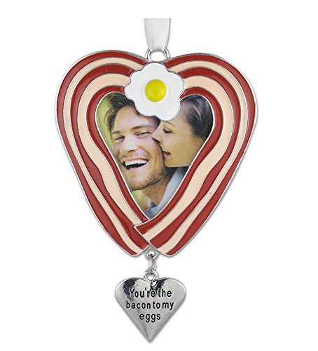 BANBERRY DESIGNS Bacon Ornament - You're The Bacon to My Eggs Picture Holder - Heart Shaped Bacon- Keto Gift