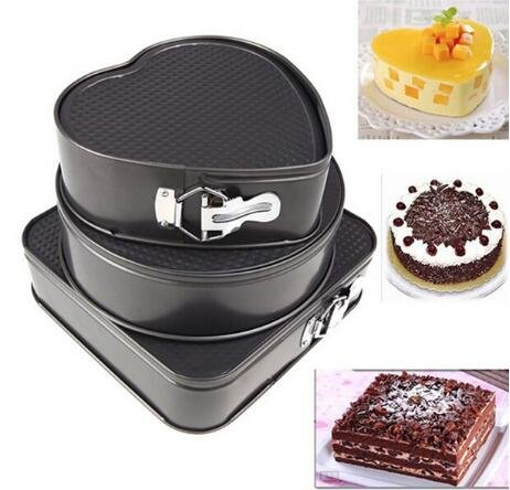 Moaeuro 3set antiaderente Springform cake pan Bakeware stampo in metallo con rimovibile inferiore rotondo cuore quadrato (colore: grigio)