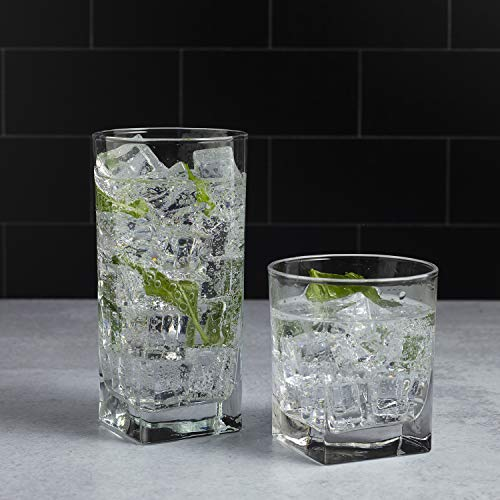 Drinking Glasses, Set of 8 - By Home Essentials and Beyond - 4 Highball Glasses (16 OZ) And 4 Rocks Glasses (13 OZ) Heavy Square Base Glass Cups for Water, Juice, Beer, Wine, And Cocktails.