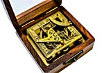 Sailor's Art Antique Brass Square Sundials with Wooden Box - Garden Dollond London - Solid Brass - Sun dial - Brass Anchor - Beautiful Handcrafted Gift - Gift for Friends Family