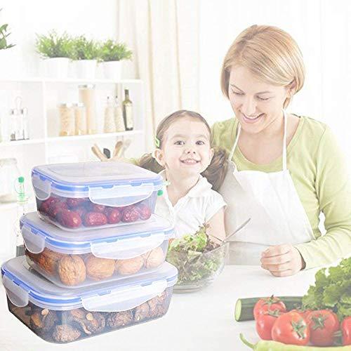WFCQNB Juego de almuerzo 3 cajas de bento a prueba de fugas, adecuadas para envases de almacenamiento de alimentos para llevar para adultos y niños, muy adecuados para la preparación de alimentos y la