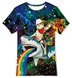 Loveternal Girl Kids Pirate Cat T Shirts for Boys Funny Ugly Shirts Size 15 Color Rainbow Shark Slim Star Galaxy T-Shirt Big Boys Underwear Designer Outdoor Tee Size 13-14