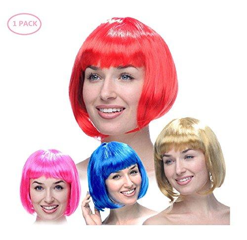 Deesos 1 piezas de las mujeres cosplay peluca sintética resistente al calor sintético bobo cosplay pelucas, traje de fiesta pop peluca corta (Azul)