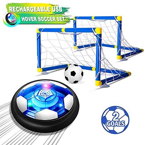 Niños Juguetes Hover Conjunto del Balón De Fútbol con 2 Goles, Fútbol De Aire con Luz LED, Recargable Flotante del Balón De Fútbol USB con Espuma De Parachoques para Juegos De Interior