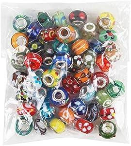 NiceButy Lote de 50 cuentas de cristal de Murano, mezcla europea, compatibles con la mayoría de las pulseras de abalorios principales.