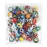 Nicebuty 50pièces Lot) en verre de Murano européen Mélange de Compatible avec la plupart des bracelets à breloques