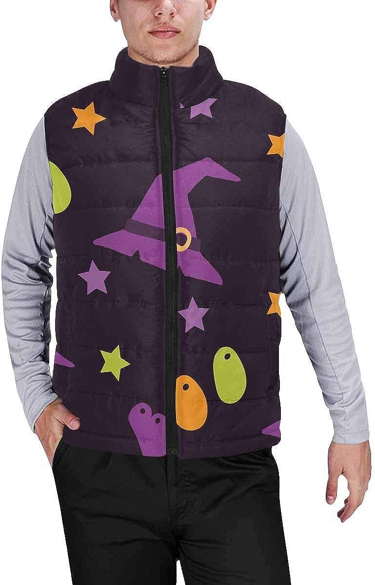 InterestPrint Men's Outdoor Casual Stand Collar Padded Vest Coats Green Shamrock