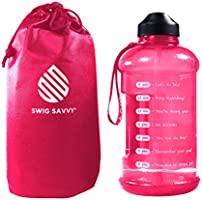 Botella de agua motivadora con popote y marcador de tiempo para asegurar que bebes suficiente agua diariamente, a prueba...