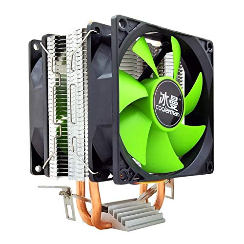 QWLHZW CPU Cooler 2 Heat Pipes 4 Pines PWM de 90mm Intel LGA 775 1150 1151 1155 1366 Ventilador de la CPU AM2 AM3 AMD Quiet PC disipador de Calor (Blade Color : No Light 3 Pin 2 Fan)