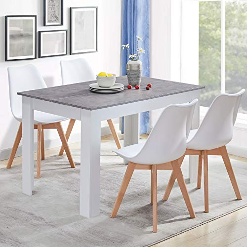 CLIPOP Wooden Kitchen Dining Table Rectangle 4 Seater Kitchen Table in White and Grey Finish Modern Dining Room Furniture (Top 120 cm x 80 cm)
