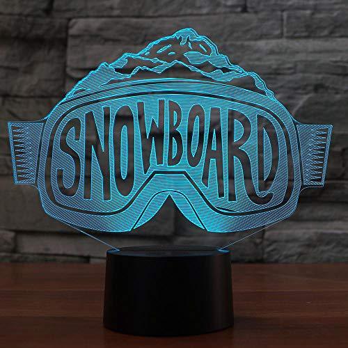Ydwd3D LED Skibrille Modellierung Nachtlichter Bunte Farbverlauf Tischlampe Schlafzimmer Nachttischdekoration Snowboard Schlafbeleuchtung Weihnachtsgeschenke
