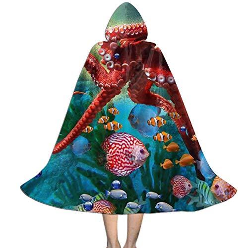 Larga Disfraz Bruja Ocano Mar Rojo Pez Submarino Capa Co Capucha Encapuchado Capa con Capucha Impresin HD Vampiro Traje para Mujer Carnaval Fiesta 150X40Cm