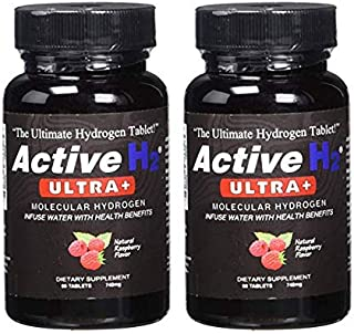 Active H2 Ultra+ Natural Raspberry Flavored Molecular Hydrogen Additive for Water, Infuse Water with Health Benefits 60 Tablets, 740mg (2 Bottles)