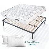 Set Sommier et Matelas double 140x190 de 20 cm de hauteur avec Coussins en mousse mémoire de forme gratuits, lit complet, matelas avec revêtement massant sommier à lattes renforcé avec pieds - Offre