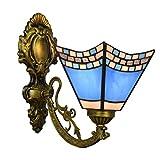 LHQ-HQ Azul británico color Cristal Espejo retro Faros creativo de noche la lámpara de pared del pasillo oscuro de cristal lámpara de pared de la decoración de la pared de luz de la lámpara de Tiffany