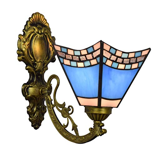 LONGWDS Lámpara de Pared Azul británico Color Cristal Espejo Retro Faros Creativo de Noche la lámpara de Pared del Pasillo Oscuro de Cristal lámpara de Pared de la decoración de la Pared de luz de la