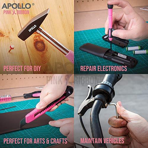 Apollo 39pc Kit Outils pour Madame, Boite à outils rose, Pince Set, Marteau, Tourvenis de Precision et Outils pour Ménage en Boîte Durable - Cadeau Anniversaire Femme