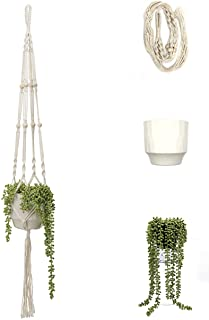 Macrame Plant Hanger with Ceramic Pot and Artificial Hanging Plant ( Complete Ready to Hang 3 Piece Set ) - Handmade Hangi...