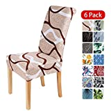 smiry Stretch Printed Dining Chair Covers, Spandex Removable Washable Dining Chair Protector Slipcovers for Home, Kitchen, Party, Restaurant - Set of 6, Khaki