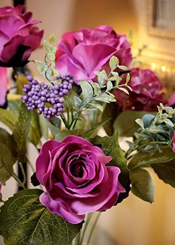 ZZYLHS 10 Pcs Artificial Roses Silk Flowers Fake Single Stem Blooming Rose Bridal Bouqets Arrangment Garden Decoration